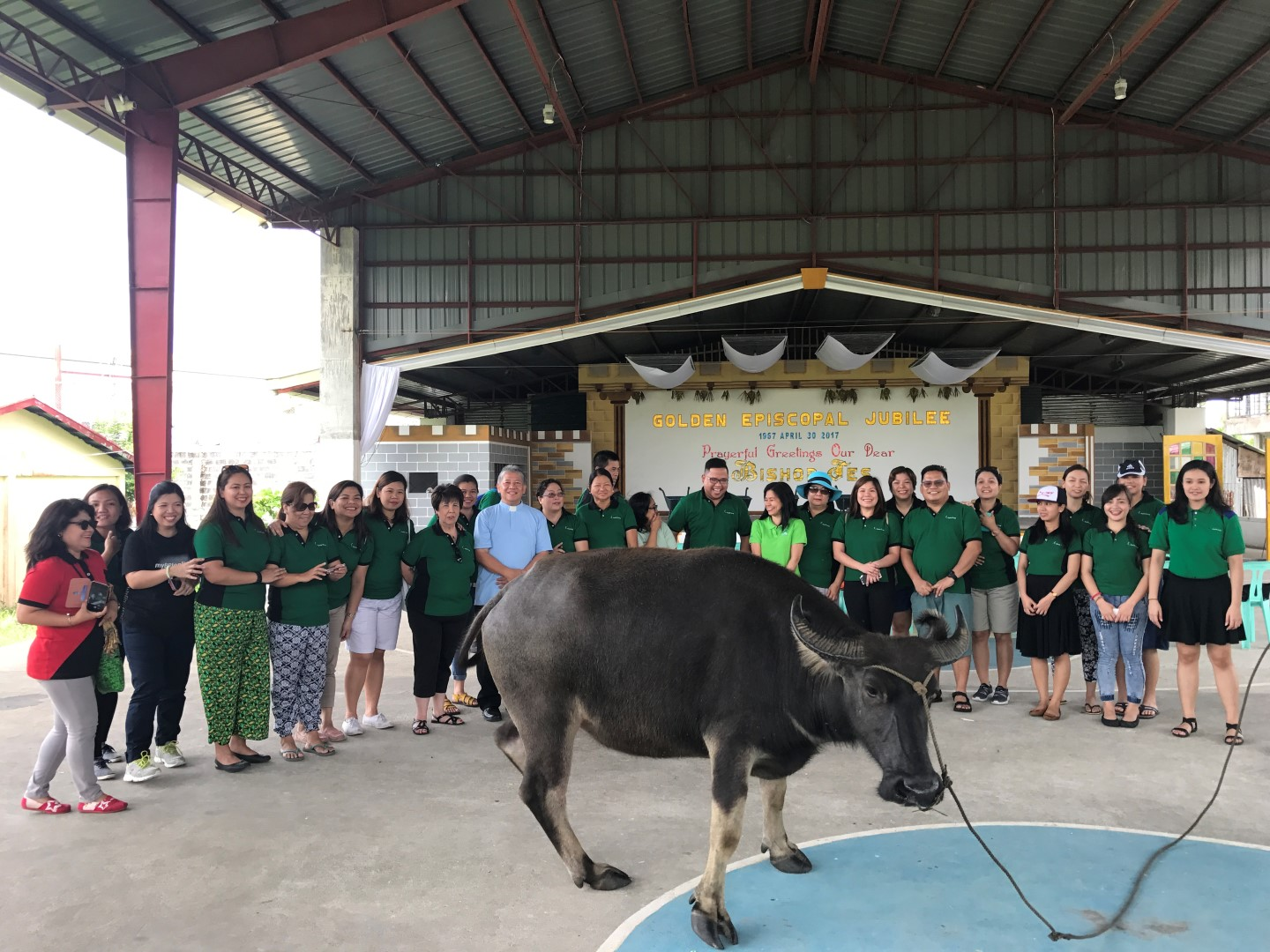The Coop volunteers led by GM Dina Orosa and Healing Servants Foundation official Fr. Gerald Deveza take a look at the carabao the Coop donated for use by the Divine Healer Academy, the school supported by the foundation, in teaching farming to its older students.