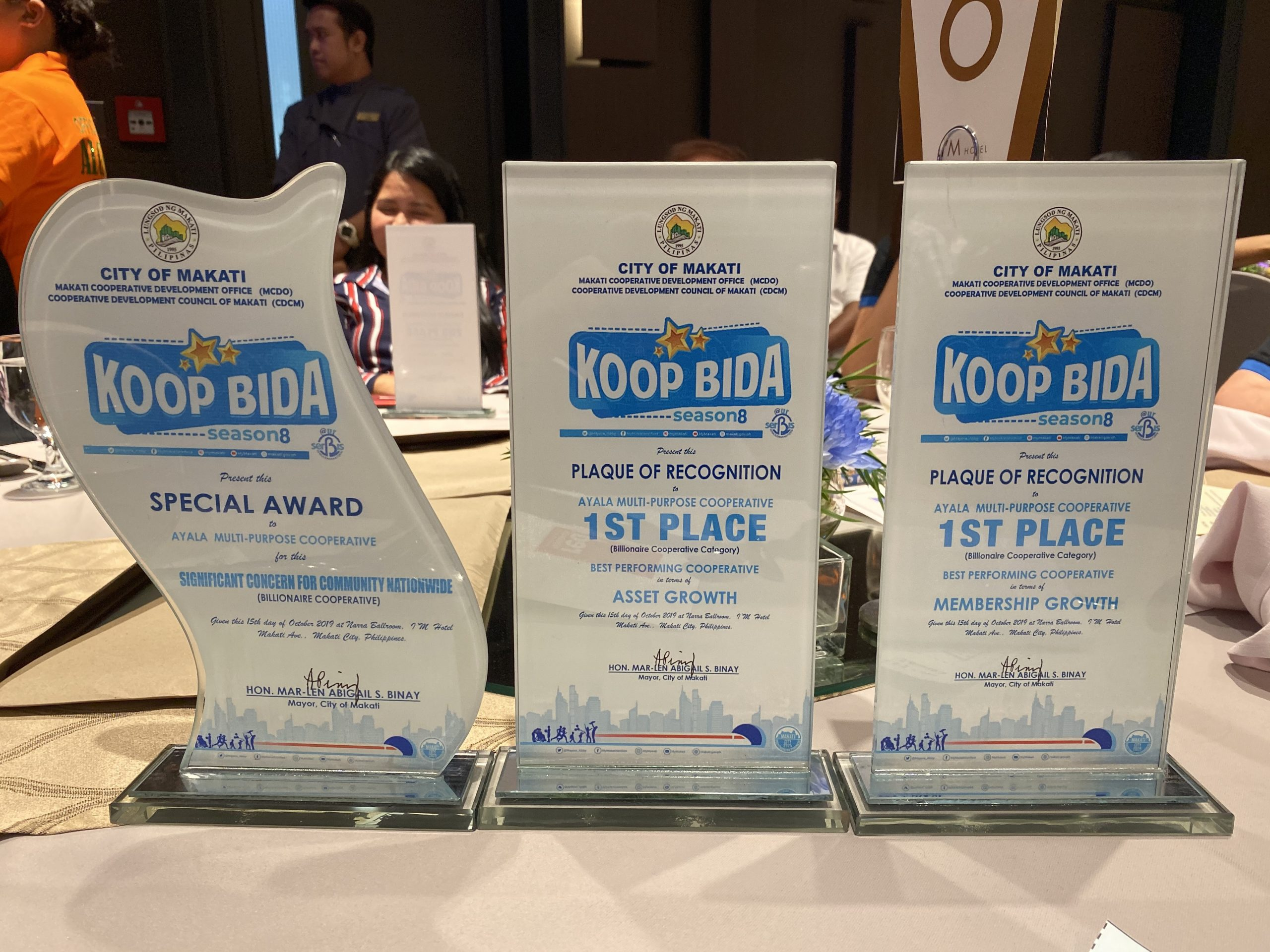 Plaque of Awards for Ayala Coop in KoopBida Awards